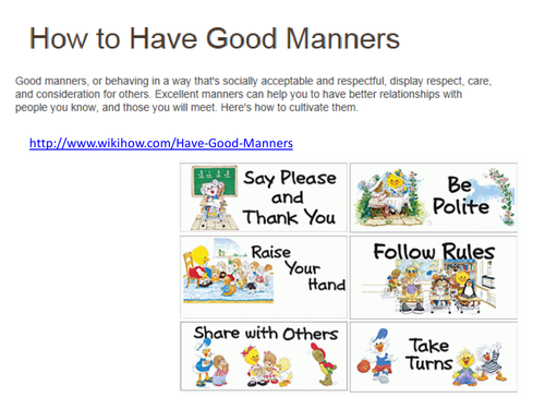 Good Manners By Sfy773 Teaching Resources
