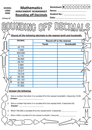 Ks2 Rounding Off Decimals to Tenth and Hundredth by jinkydabon ...