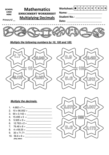 Multiplying Decimals By 10 And 100 Worksheet - Laptuoso