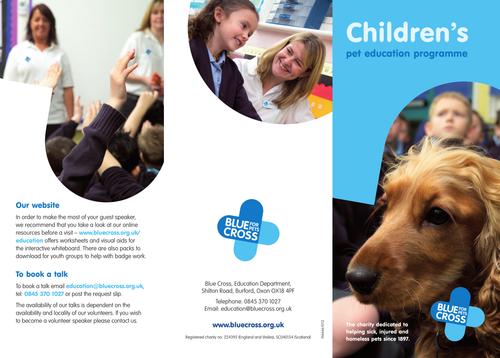 Blue Cross  Pet resources - school talks about responsible pet care