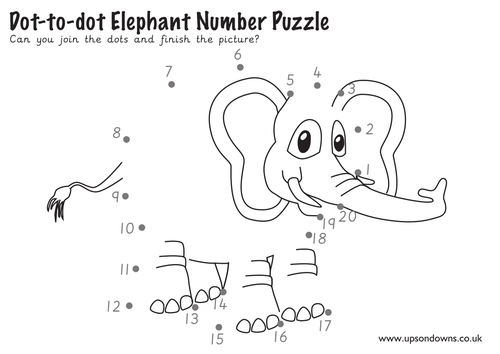 Dot-to-dot Elephant Number Puzzle By UpsonDowns