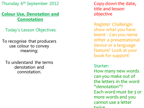 Text Types Colour Use And Denotation Connotation By Missrathor
