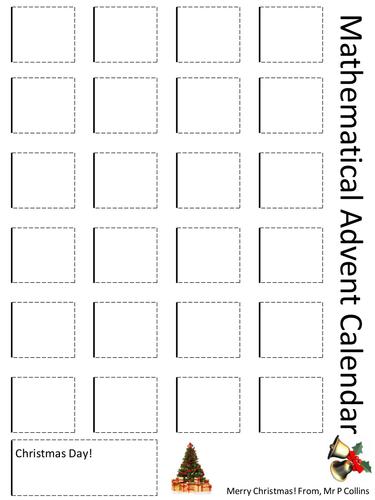 Mathematical Advent Calendar Template By Paulcollins Teaching