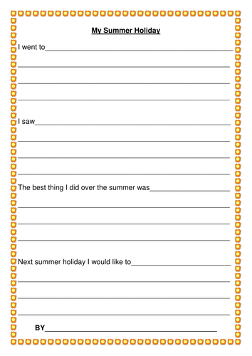 Summer Holiday Recount Frame - Year 2 by StefanieTuesday - Teaching ...