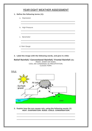 Weather Assessment KS3: lower to middle ability