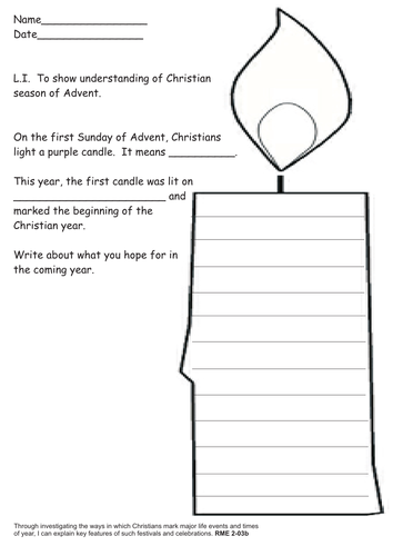 First Advent Candle Hope By Stacey1975 Teaching Resources