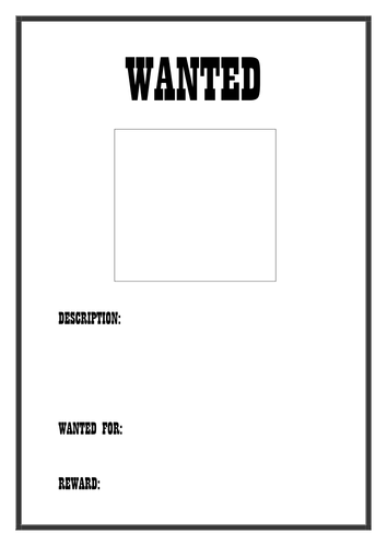 Wanted Poster Template by dreamingisfree - Teaching ...
