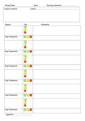 Teaching Assistant Group Record And Feedback Form By