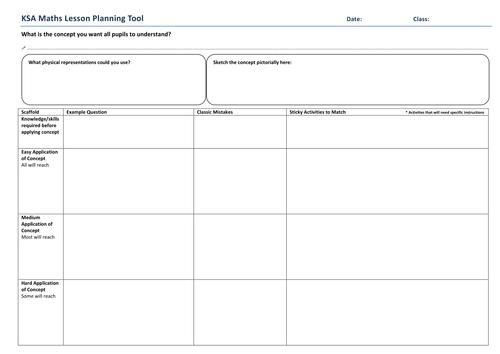 Singapore Maths planning tool & ref sheet