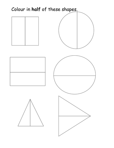 Colour in half of the shapes worksheet