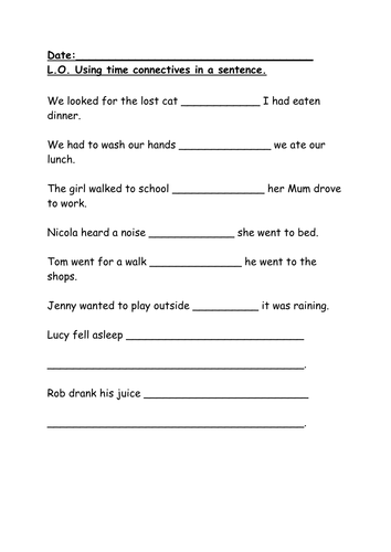 Time Connectives (KS1) IWB and Worksheets by englishgroup7 ...