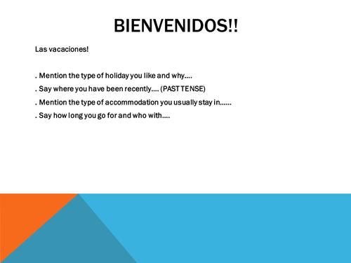 AQA spanish Las vacaciones Coursework 1st paragrap