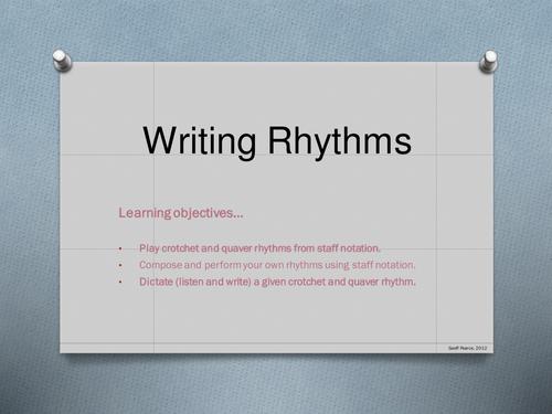 Rhythm notation  - play, compose, play, listen