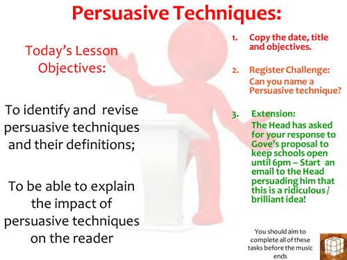 use of persuasive techniques I will identify and use persuasive techniques correctly agenda: i class starter ii learning goal iii commercial iv persuasive techniques v letter commercial.