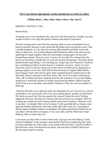 diary-entries_Diary Entry WW2 by rachelbunce - Teaching Resources - Tes