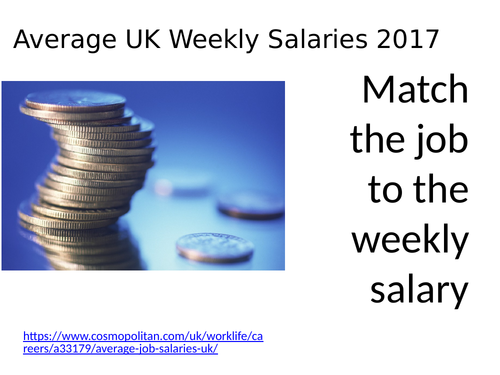 Match the job to the salary UPDATED!!