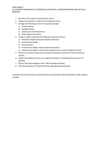 Intermolecular Forces By Biolady9 Teaching Resources Tes