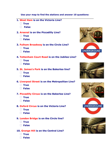 Exercises ~ using London Underground maps