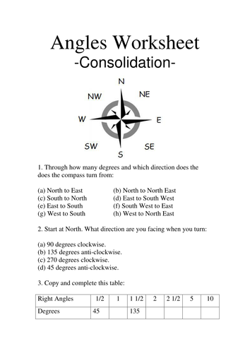 Angles and compasses worksheet