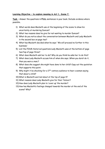 questions for macbeth act education photography com macbeth comprehension worksheet act 1 scene 7 macbeth act 2 scene 2 questions worksheet by