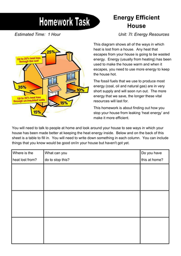 The Energy Efficient House Homework by dazayling - Teaching ...
