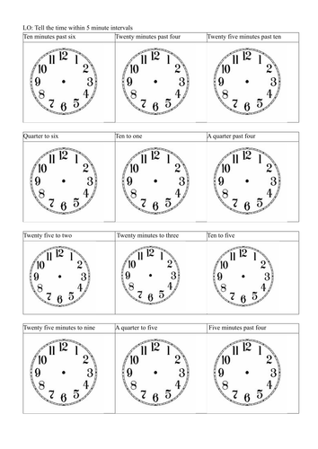Telling the time nearest 5 mins