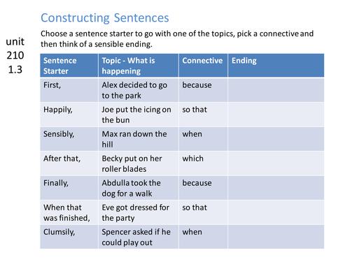 Constructing simple sentences