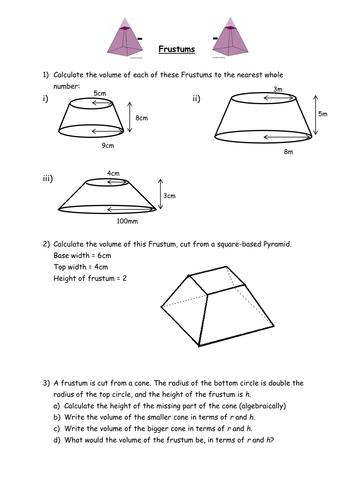 Frustums By Owen134866 Teaching Resources Tes