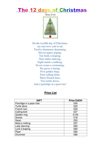 12 days of christmas maths by soona teaching resources tes