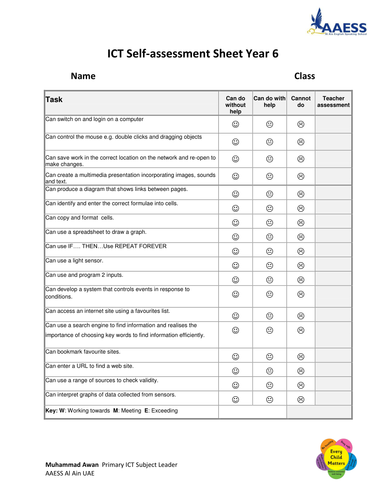 ICT Self-assessment Sheet Year 6 by muhammadawan - Teaching ...