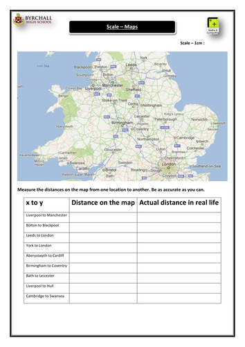 ks3 maps scale activity uk by danielabbott89 teaching resources tes. Black Bedroom Furniture Sets. Home Design Ideas