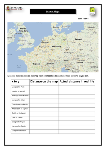 Maps & Scale Activity - Europe Map Distance From One Location To Another on