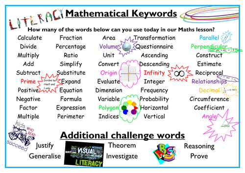 Math Keyword wall display by phtodd113 Teaching Resources TES – Keywords in Math Word Problems Worksheet