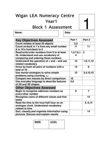 Year 1 Maths assessment tests