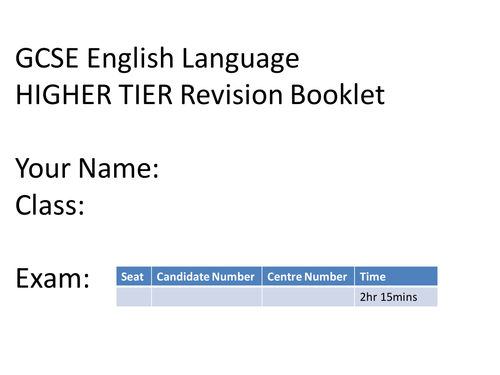 GCSE English Language Revision Resources