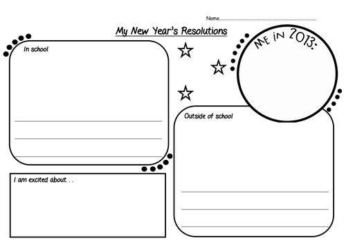 New Years Resolution Worksheet By Chillibean Teaching Resources