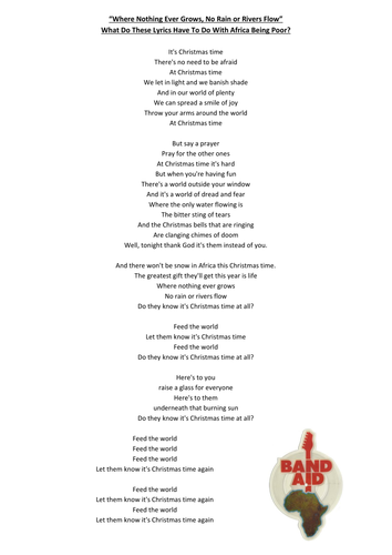 Do They Know Its Christmas Lyrics.Band Aid And Africa By Willsoneducation Teaching Resources