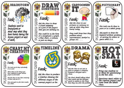 30 Colourful Plenary Cards for Pupil Led Lessons