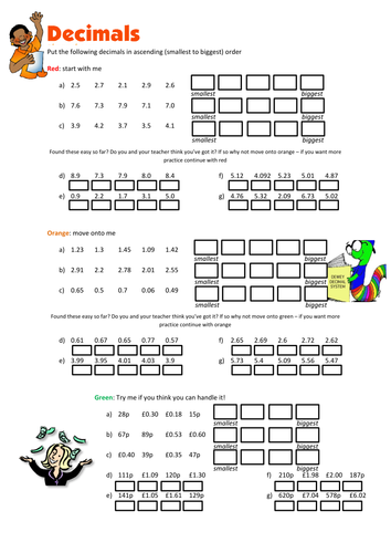 Ordering Decimals Worksheet by floppityboppit - Teaching Resources - Tes