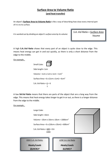 Surface Area to Volume Ratio Worksheet by mtl78 - Teaching ...