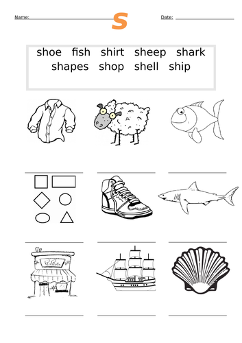 First sh Words Worksheet sh