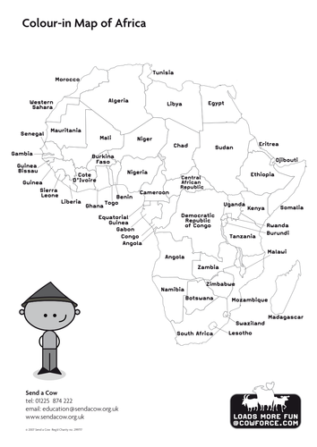 Outline Map Of Africa Blank Map Country Names By Sendacow - Map of egypt ks2