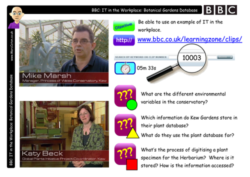 BBC Clip: Watch & Discuss: Kew Gardens Databases