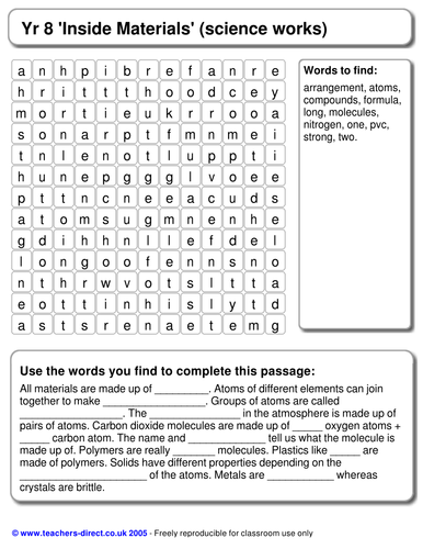 Inside Materials Wordsearch And Cloze By Mrs B Teaching