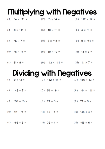 Multiplying and Dividing with Negatives. by t0md3an - Teaching ...