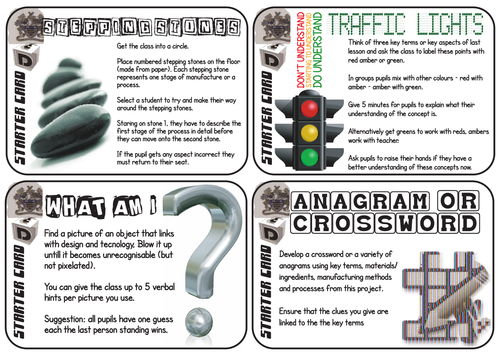 30 Colourful Starter Cards for Pupil Lead Lessons