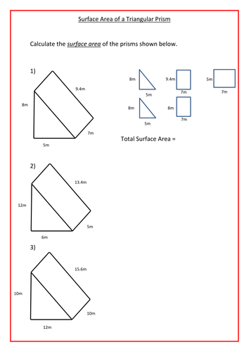 Worksheets Surface Area Triangular Prism Worksheet surface area of triangular prisms by ra77 teaching resources tes