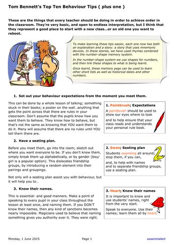 Tom Bennett's Top Ten Behaviour Tips  ( plus one )