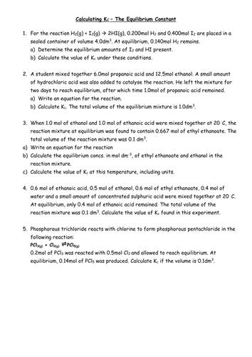 Worksheets Equilibrium Constant Worksheet calculating equilibrium constant kc by penny corp teaching resources tes