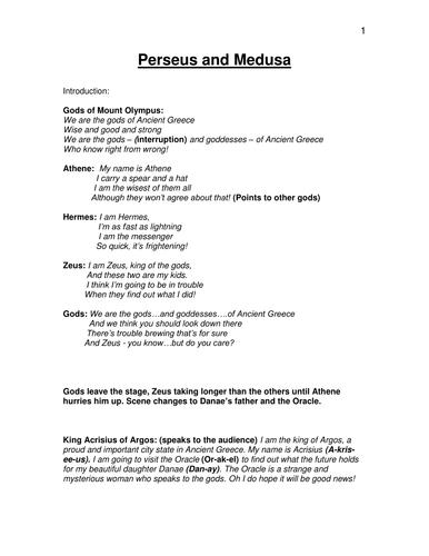 Perseus and Medusa Play script